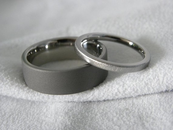 Titanium Ring Set or His and Hers Wedding Bands Sandblasted and Frost Finish
