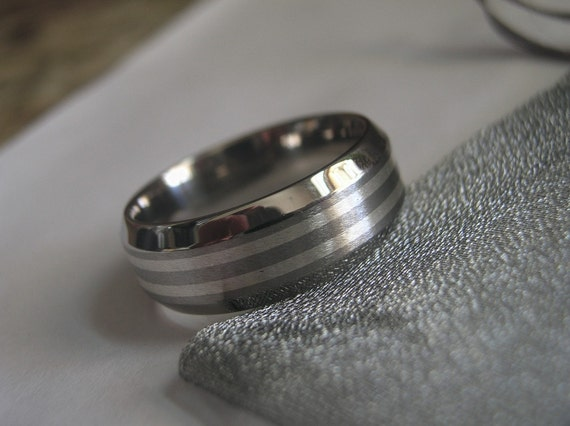 Titanium Silver Inlay Ring or Wedding Band 8mm size 7.75