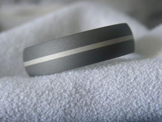 Titanium Silver Inlay Ring or Wedding Band Sandblasted Finish