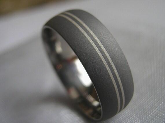 Titanium Ring Sterling Silver Sandblasted Gray Band AX79