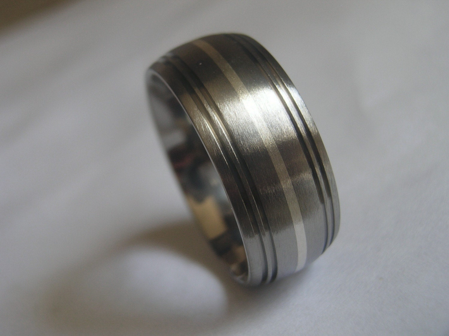 titanium silver inlay ring or wedding band clearance 9mm size