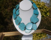 Double strand chunky turquoise and pearl necklace