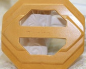 Butterscotch Bakelite Geometric Belt Buckle Atomic Space Age Carved Plastic Vintage 1930s Fashion Jewelry Gift J1702