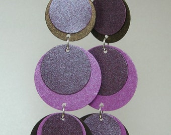 Paper Earrings in Plum, Purple and Gold