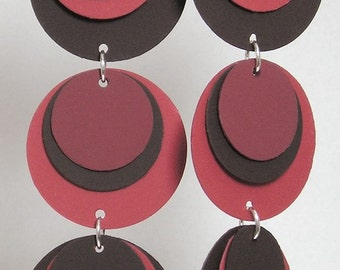 Paper Earrings in Velvety Red, Dark Chocolate and Smokey Orange