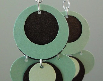 Green and Gold Paper Earrings