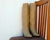 70s Italian Leather Tan Knee High Boots - 6.5