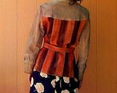 leather bold color block fringe jacket . . . womens medium large . . . mens small