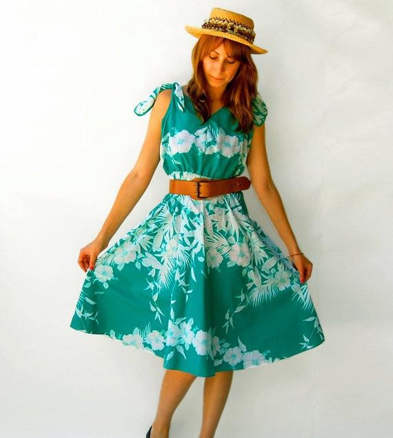 Seafoam Teal Green Copacabana Sun Dress ....... medium large