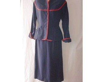 Blue Wool 2 Pc Vintage 40s Wasp Waist Jacket and Pencil Skirt Set Red Trim W25 B35 S