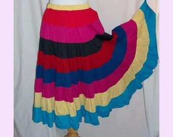 CLEARANCE SALE Rainbow Fiesta Circle Skirt M W32 Vintage 80s