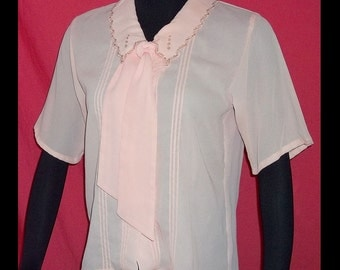 Soft Peach Georgette Vintage 80s Secretary Tie Neck Blouse M Convertible
