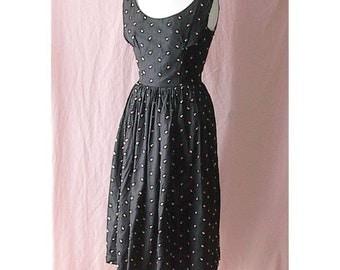 Black with Pink Emb Rosebuds Prom Party Dress S Vintage 50's Tulle Underskirt B36 Formal