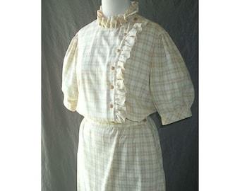 Ruffled Yellow Plaid Blouse and Skirt Set Dress Secretary Vintage 80s
