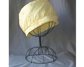 Vintage Summery Yellow Draped Chiffon Ladies Hat with Bow Trim Easter