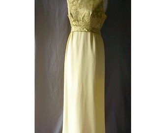 Holiday 60s Glam Vintage Gold Brocade Yellow Sheath Gown Dress Watteau Back Empire Waist M B38 Formal