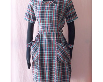 Bow Detail Blue Red Plaid Cotton Dress Daydress L B41 Vintage 60s