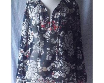 Floral Print Semi Sheer Keyhole Neckline Blouse Top Vintage 70s M L B44