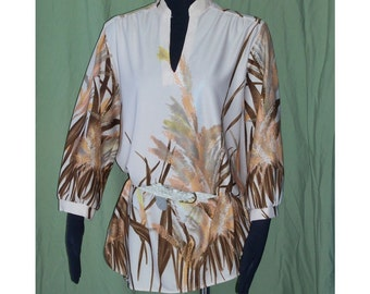 CLEARANCE SALE Tan Leaf Print Vintage 70's Tunic Shirt Blouse XL B48