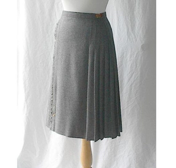 grey wool accordian pleated wrap skirt with leather buckles s