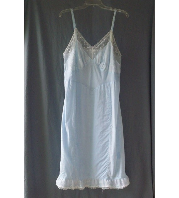 Charmode Baby Blue Vintage Cotton Slip Style Nightgown 44 Large XL