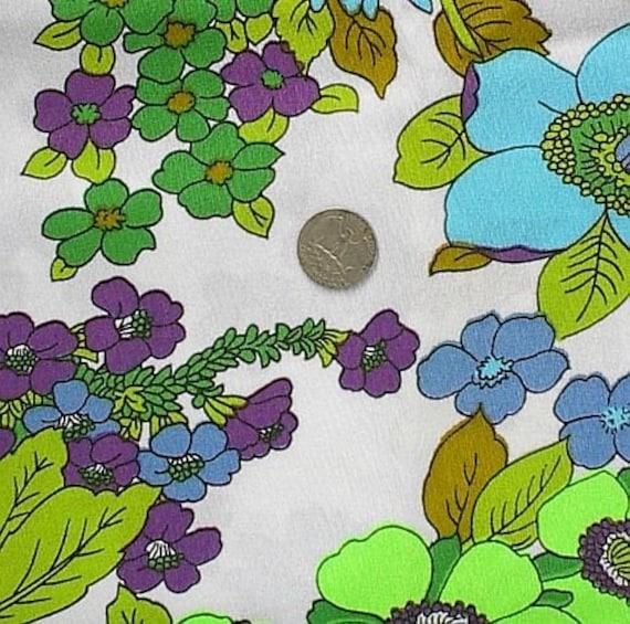Vintage Bright Blue Green Floral Barkcloth Fabric Yardage 45 in Wide 1 1\/2 yd