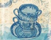 blue willow pattern 7x7 art print