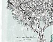 Oak Tree Archival Art Print Illustration