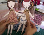 Paper Dolls, instant downlaod, printable, 2 dolls per sheet,  DIY from Sweet William illustrations