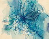 Blue Wash Wild Flower archival quality print - Small and Medium size