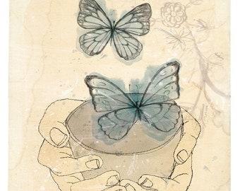 Bowl of Butterflies Wall art print watercolour illustration