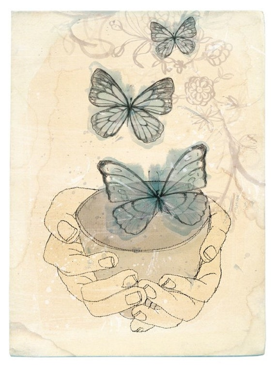 Bowl of Butterflies Wall art print watercolour illustration