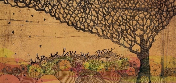 In love we grow - fine art print - a Sweet William illustration on archival paper.