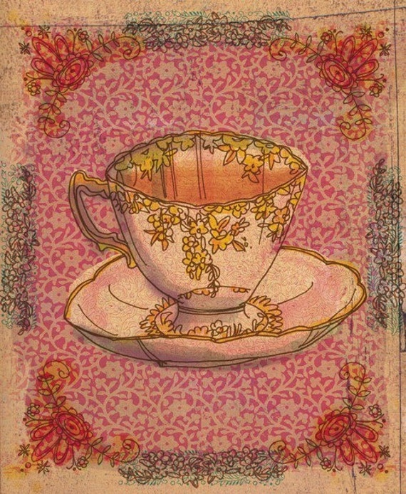 tea cup no.3 - A5 fine art print - a Sweet William illustration on archival paper.