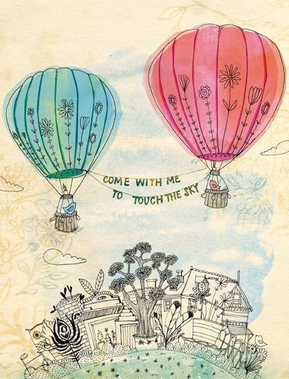 Touch The Sky Wall Art Print -  illustration kids decor pink and blue hot air balloons