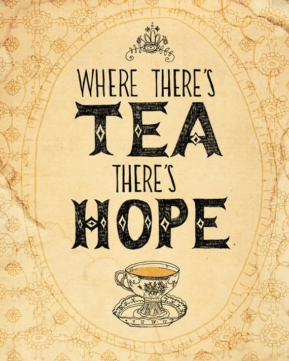 tea and hope - A4 fine art print - a Sweet William illustration on archival paper.