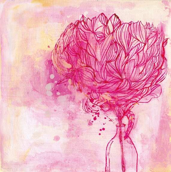 Painted Peony archival art print - Small and Medium size