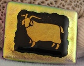 Goat - Dichroic fused glass GOAT on gold - dichroic glass jewelry - magnet - suncatcher