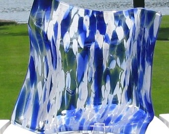 Cobalt blue and white square murano type glass dish - Royal blue - Fused glass - origami dish (2455)