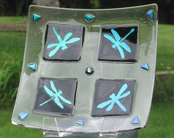 Dichroic Dragonflies on square fused glass dish - Dragonfly dishes - Square dish -  OOAK (1273)