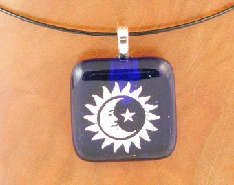 Eclipse pendant Sun - Moon - & Star dichroic fused glass pendant - dichroic glass jewelry  (2386)