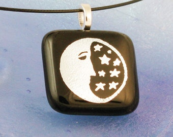 Moon and Stars dichroic fused glass pendant - lunar eclipse - man in the moon (2299)