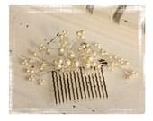Bridal Pearl Hair Comb with Swarovksi Crystals