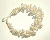 Bridal Pearl and Crystal Set of Necklace, Bracelet, and Earrings