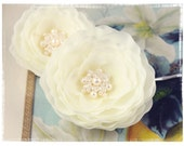 """Bridal Ivory Hair Flower Pins with Pearls and Crystals """"Whimsical Design"""""""