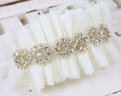 Bridal Tulle and rhinestone garter