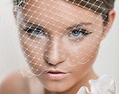 Birdcage Veil Ivory or White Russian Netting with rhinestones
