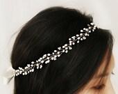 Boho Bridal Freshwater Pearl Hair Vine, Halo Headpiece, Crown Bridal Hair Accessories