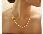 Dainty Gold Flower Necklace and Gold Flower Stud Earring set