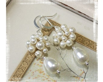 Bridal Swarovski Pearl Dangle Earrings
